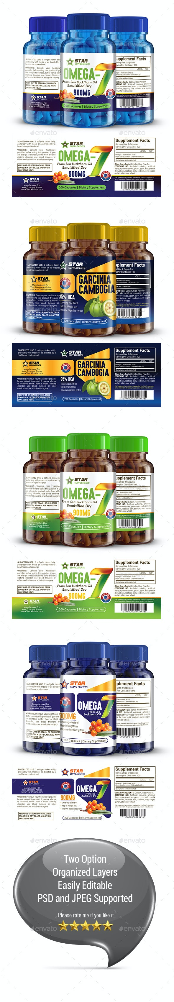 Supplement Label Template Vol-36 - Packaging Print Templates