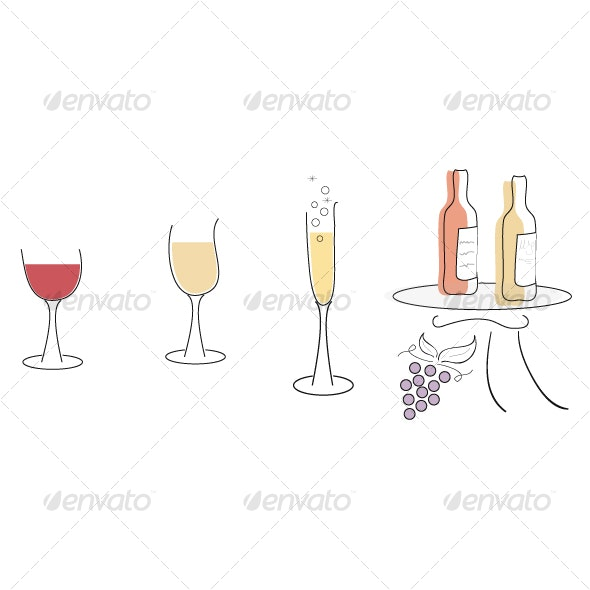 Wine, wine and more wine - Objects Illustrations