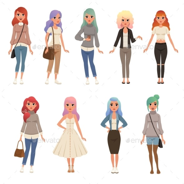 Young Women with Long Dyed Hair Set - People Characters
