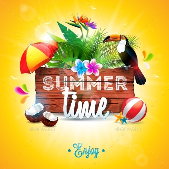 Vector Summer Time Holiday Typographic - Backgrounds Decorative