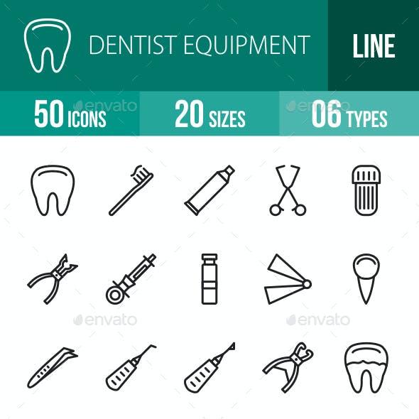 Dentist Equipment Line Icons