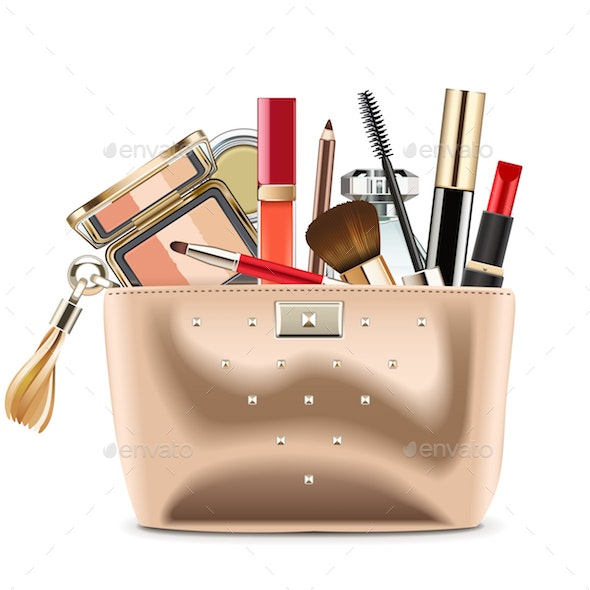 Vector Golden Cosmetic Bag with Cosmetics - Retail Commercial / Shopping