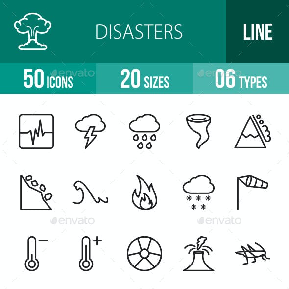 Disasters Line Icons