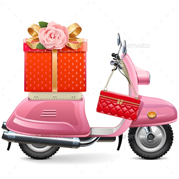 Vector Pink Scooter with Gift - Miscellaneous Seasons/Holidays