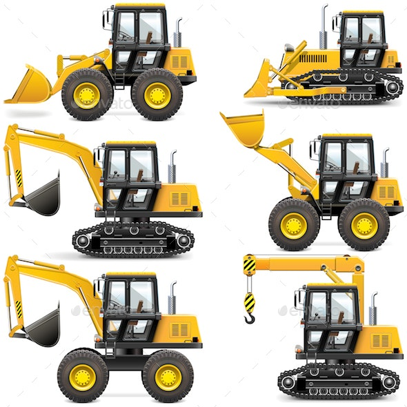 Vector Yellow Construction Machinery - Industries Business