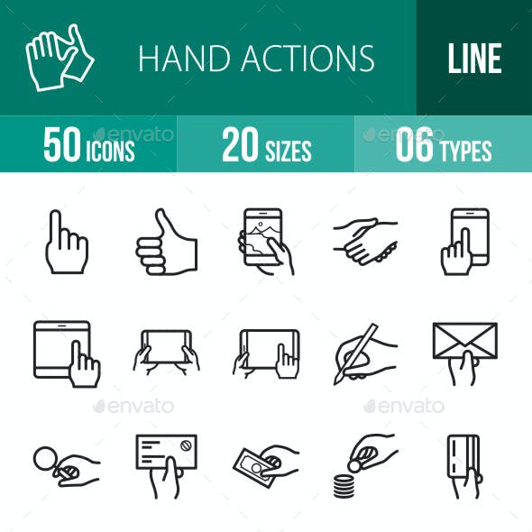 Hand Actions Line Icons