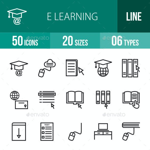 E Learning Line Icons