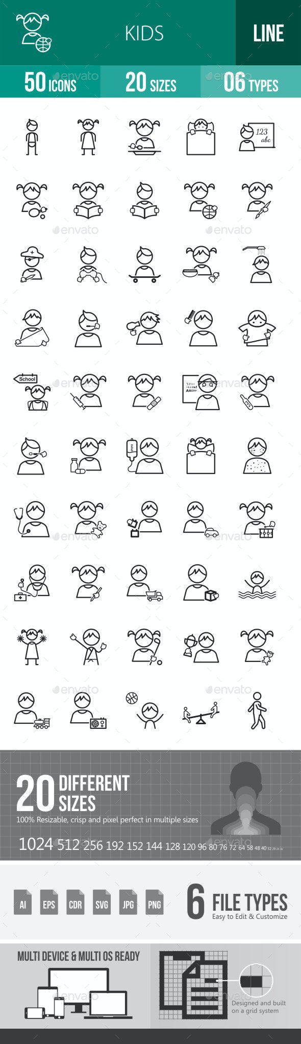 Kids Line Icons - Icons