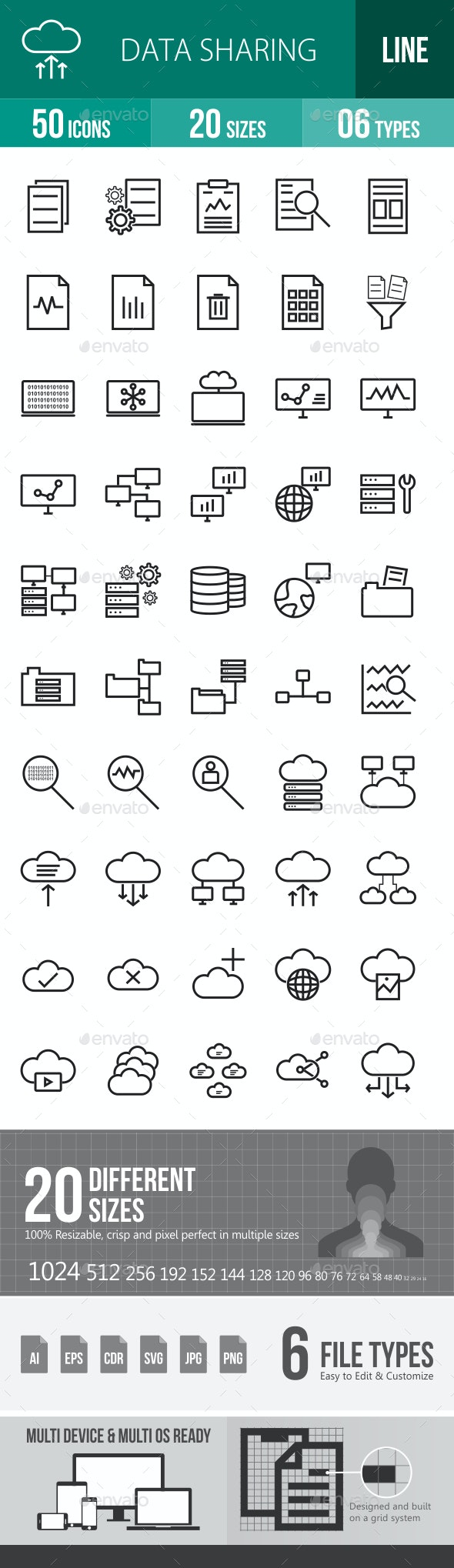 Data Sharing Line Icons - Icons