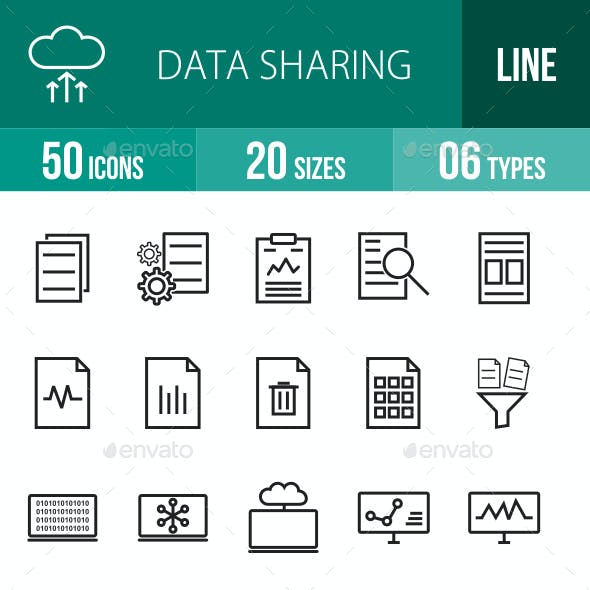 Data Sharing Line Icons