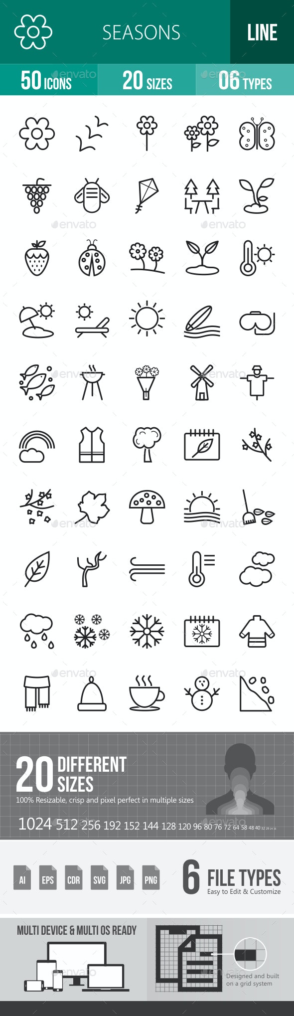 Seasons Line Icons - Icons