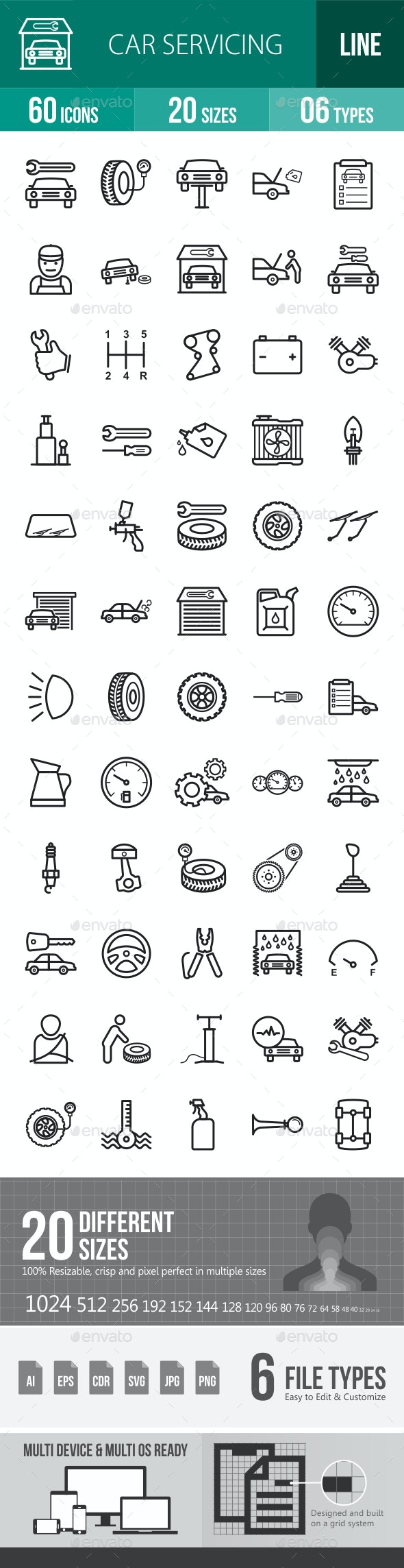 Car Servicing Line Icons - Icons