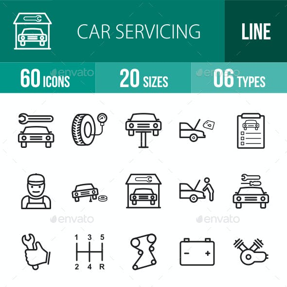 Car Servicing Line Icons