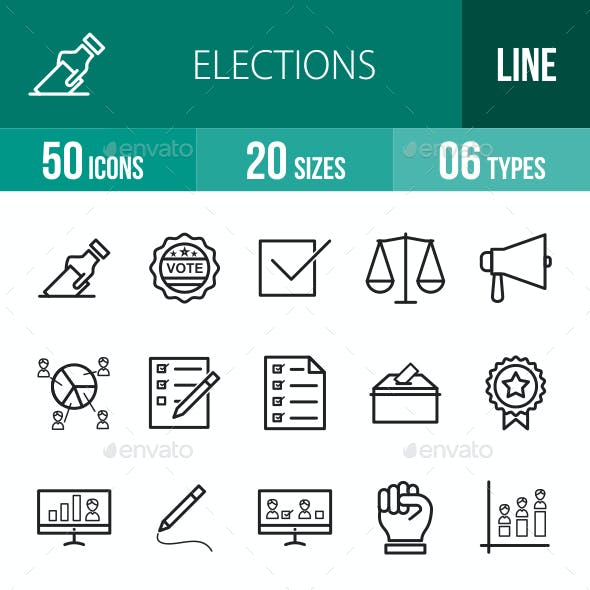 Elections Line Icons