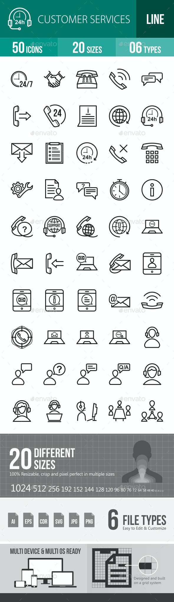 Customer Services Line Icons - Icons