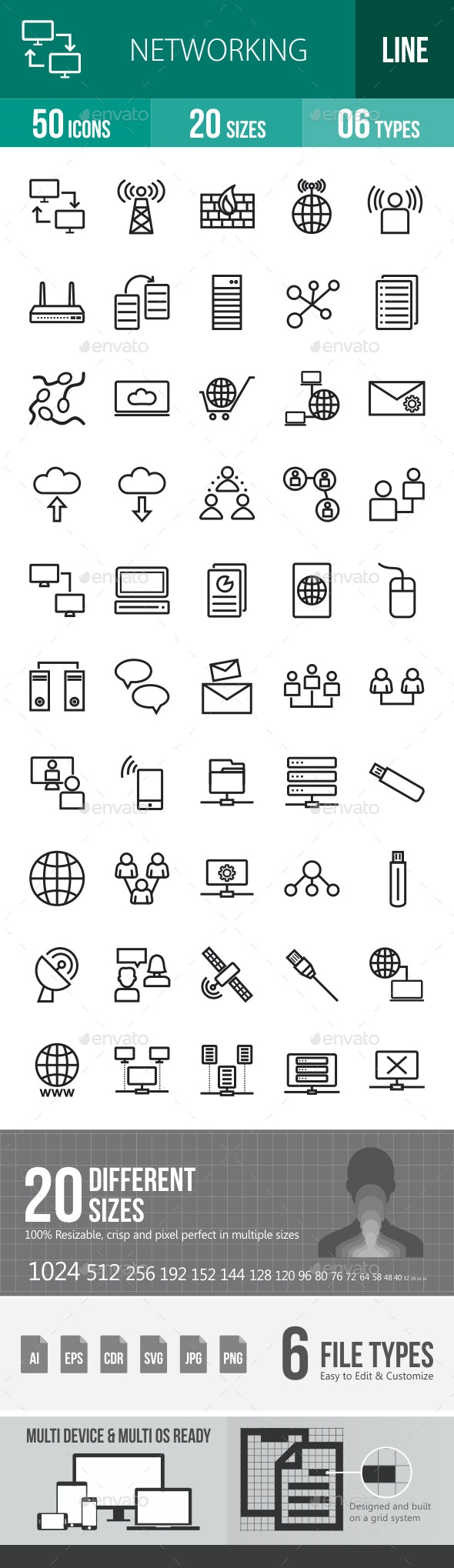 Networking Line Icons - Icons
