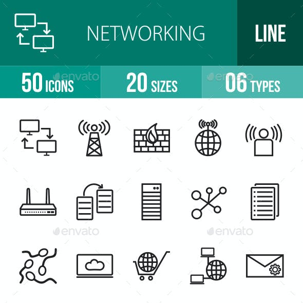 Networking Line Icons