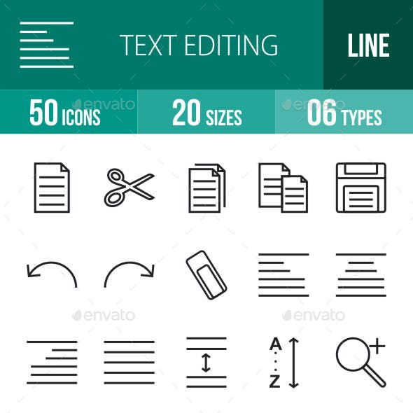 Text Editing Line Icons