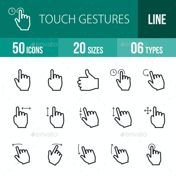 Touch Gestures Line Icons