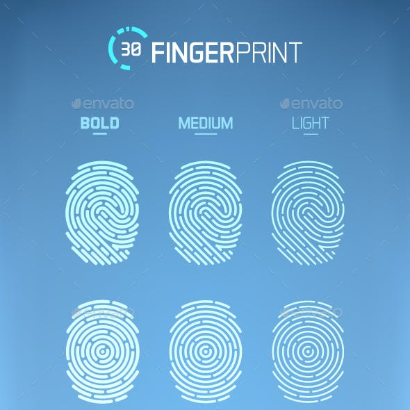 Fingerprint Scan Icons Set