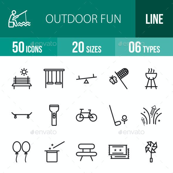 Outdoor Fun Line Icons
