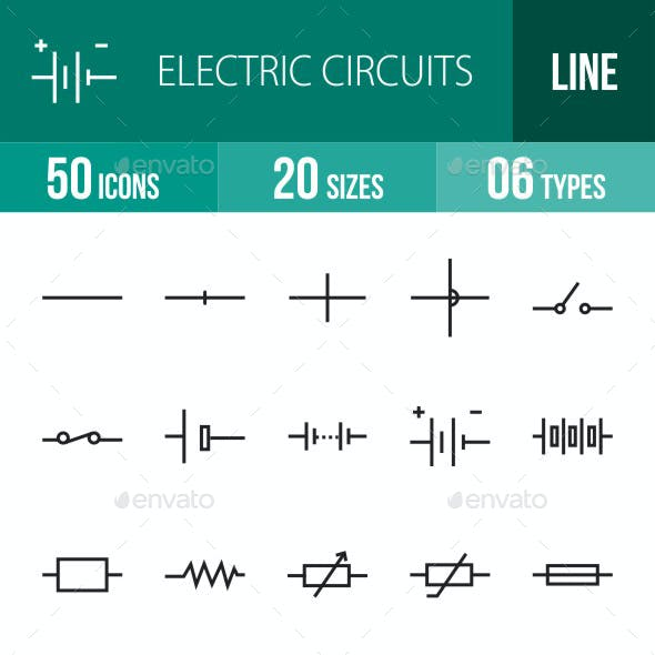 Electric Circuits Line Icons