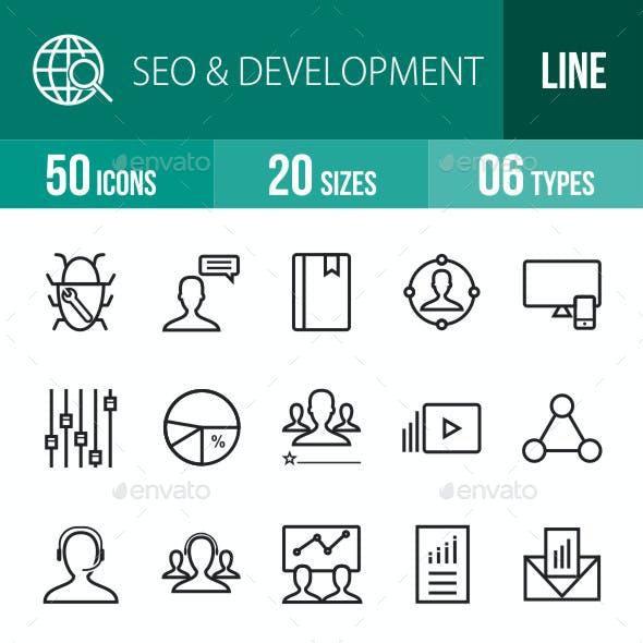 SEO & Development Services Line Icons