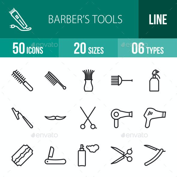 Barber's Tools Line Icons