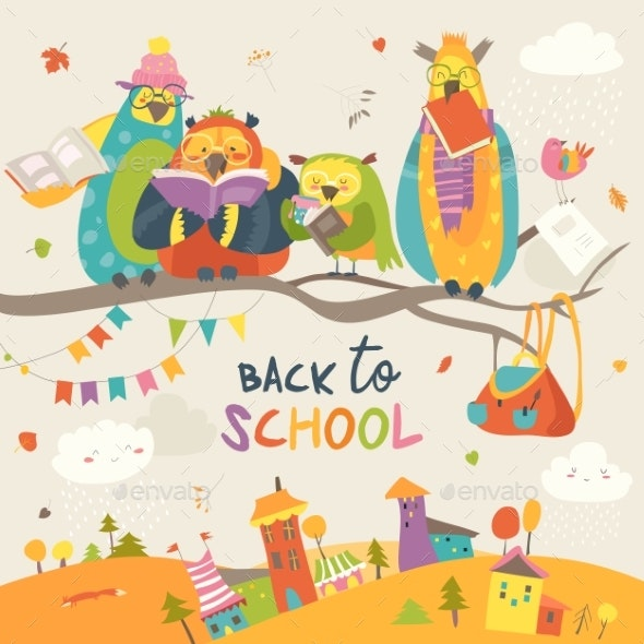 Owls on an Autumn Branch Back To School - Animals Characters