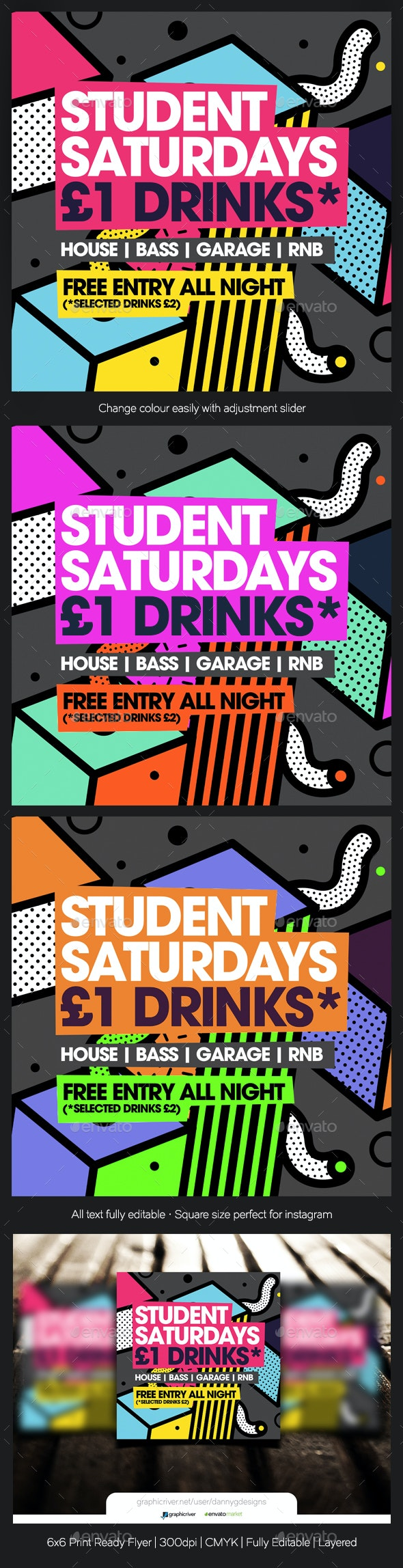 Student Saturdays Commercial Club Flyer - Clubs & Parties Events