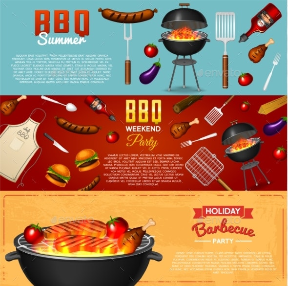 Barbecue Grill Elements Set - Food Objects