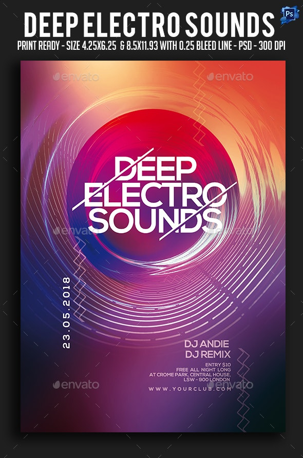 Deep Electro Sounds Party Flyer - Clubs & Parties Events