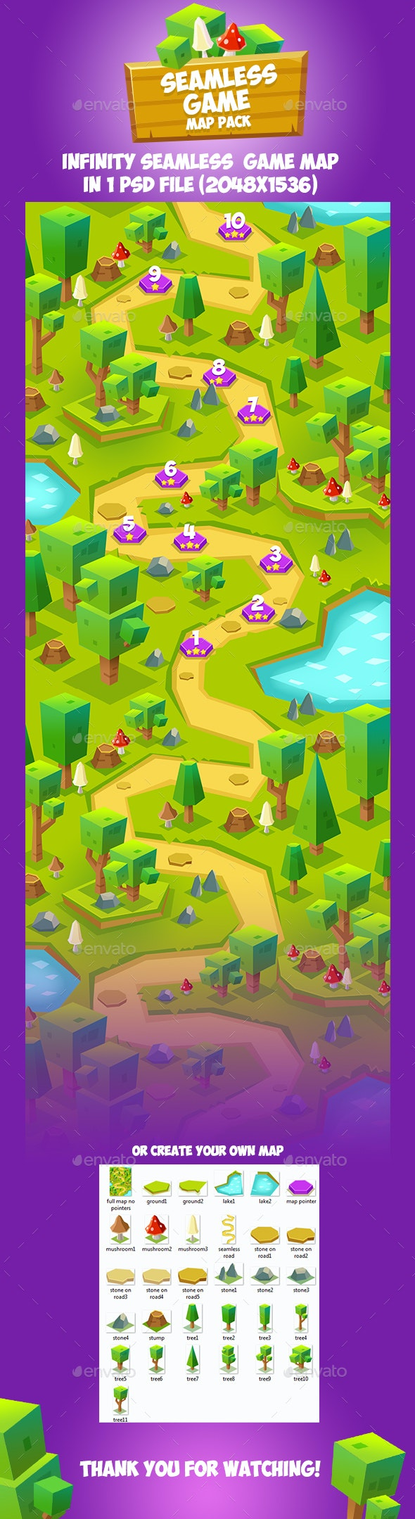 Geometric Seamless Game Map - Backgrounds Game Assets