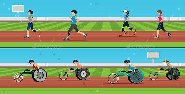 Handicapped Sprinters - Sports/Activity Conceptual