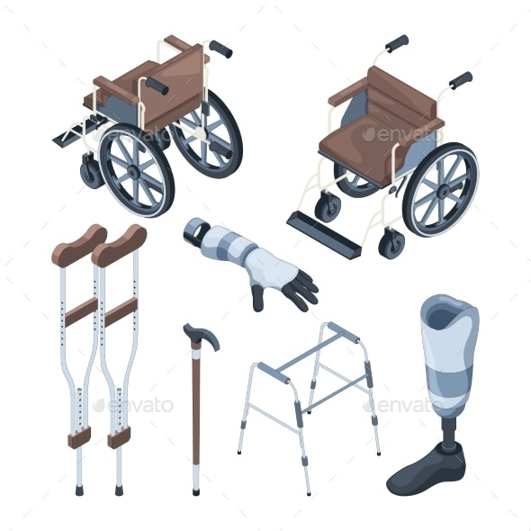 Isometric Illustrations of Wheelchair and Other - Man-made Objects Objects