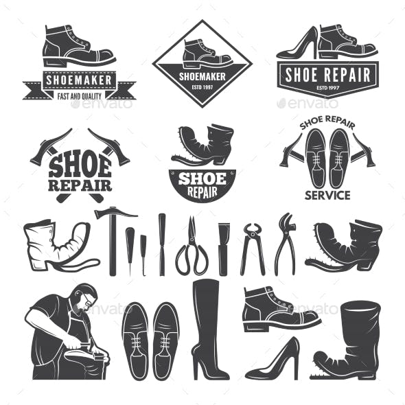 Monochrome Illustrations of Various Tools for Shoe