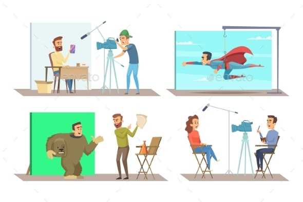 Different Characters at Movie Making Production - People Characters