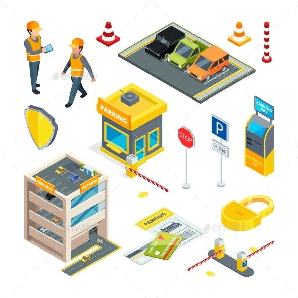 Various Isometric Pictures at Cars Parking Theme - Miscellaneous Conceptual