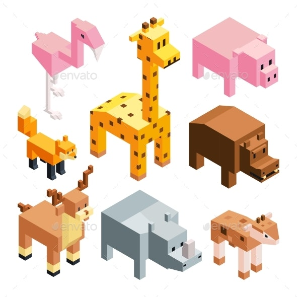 Isometric Illustrations of Stylized 3d Animals - Animals Characters