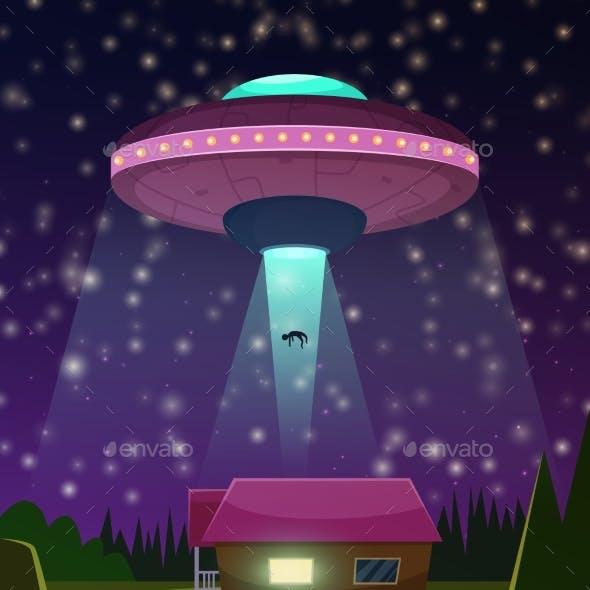 Vector Background Illustration of UFO