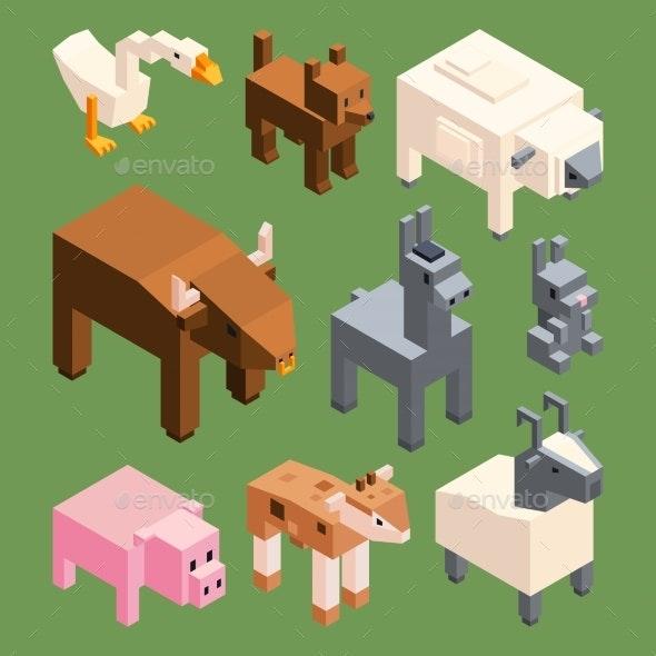 Isometric Animals of Farm - Animals Characters