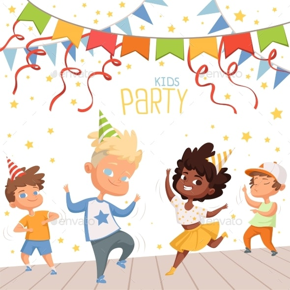 Background Illustrations at Childrens Dance Party - People Characters