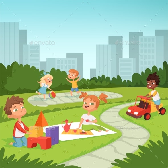 Childrens Playing in Educational Games Outdoor - People Characters