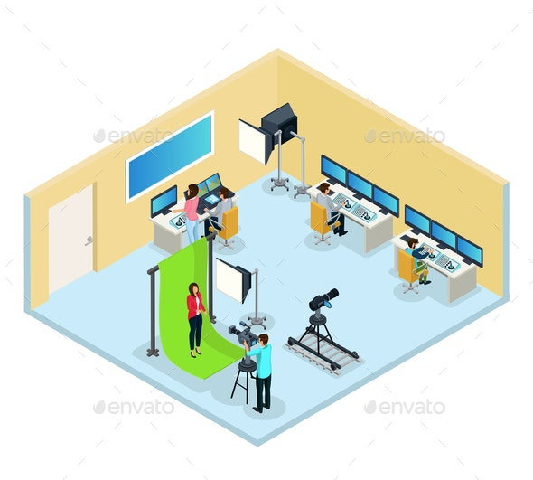 Isometric TV Program Making Concept - People Characters