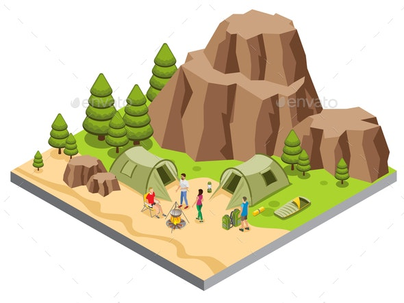 Isometric Mountain Camping Template - Sports/Activity Conceptual