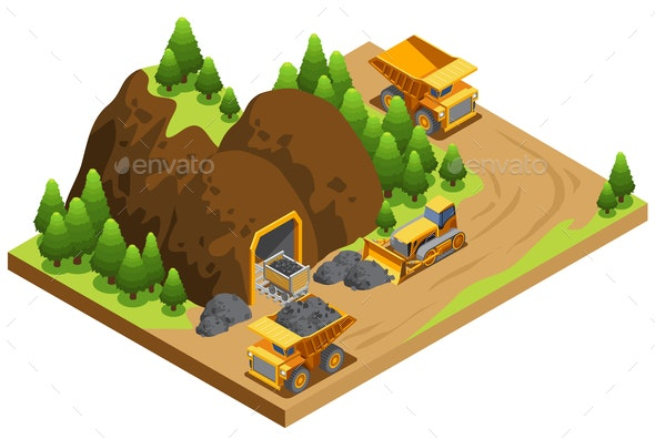 Isometric Coal Extraction Industry Template - Industries Business