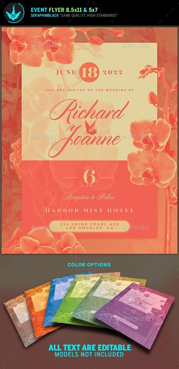 Orchid Wedding Invitation Template - Weddings Cards & Invites