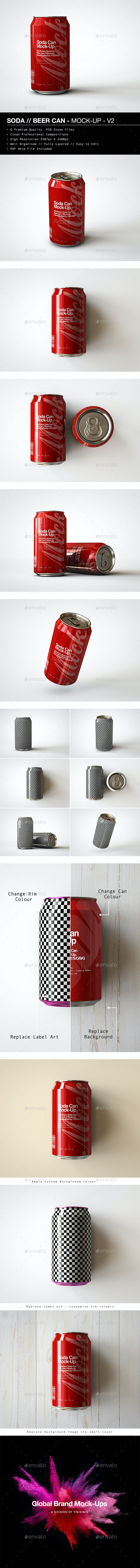 Soda Can | Beer Can Mock-Up - V2 - Food and Drink Packaging
