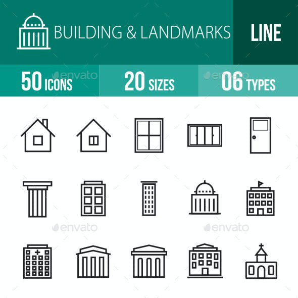 Buildings & Landmarks Line Icons