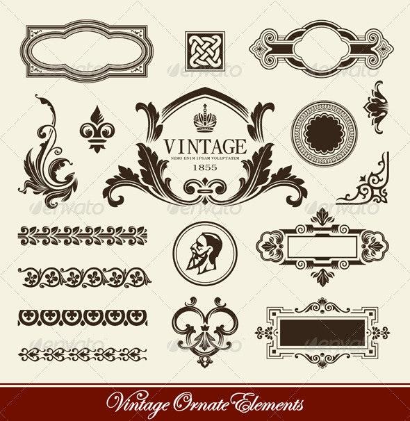 Vector set of calligraphic design elements - Decorative Symbols Decorative